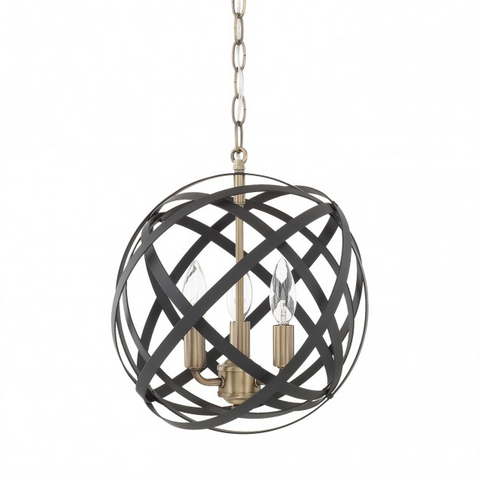 Axis 3 Light Orb Chandelier in Black and Brass by Capital Lighting 4233AB