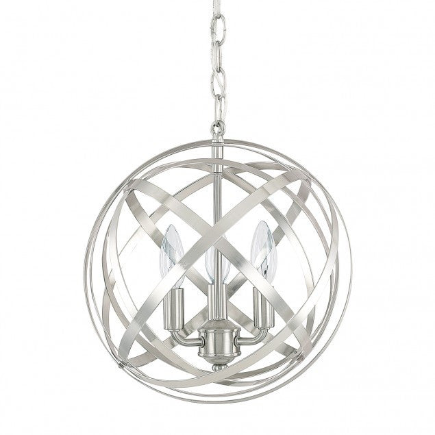Axis 3 Light Orb Chandelier in Brushed Nickel by Capital Lighting 4233BN