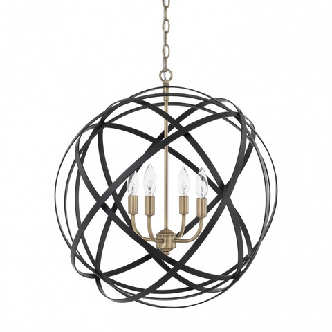 Axis 4 Light Orb Chandelier in Black and Brass Lighting 4234AB