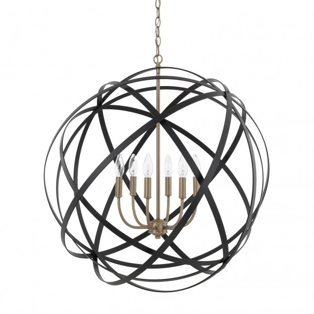 Axis 6 Light Orb Chandelier in Black and Brass by Capital Lighting 4236AB