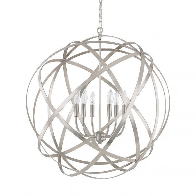 Axis 6 Light Orb Chandelier in Brushed Nickel by Capital Lighting 4236BN