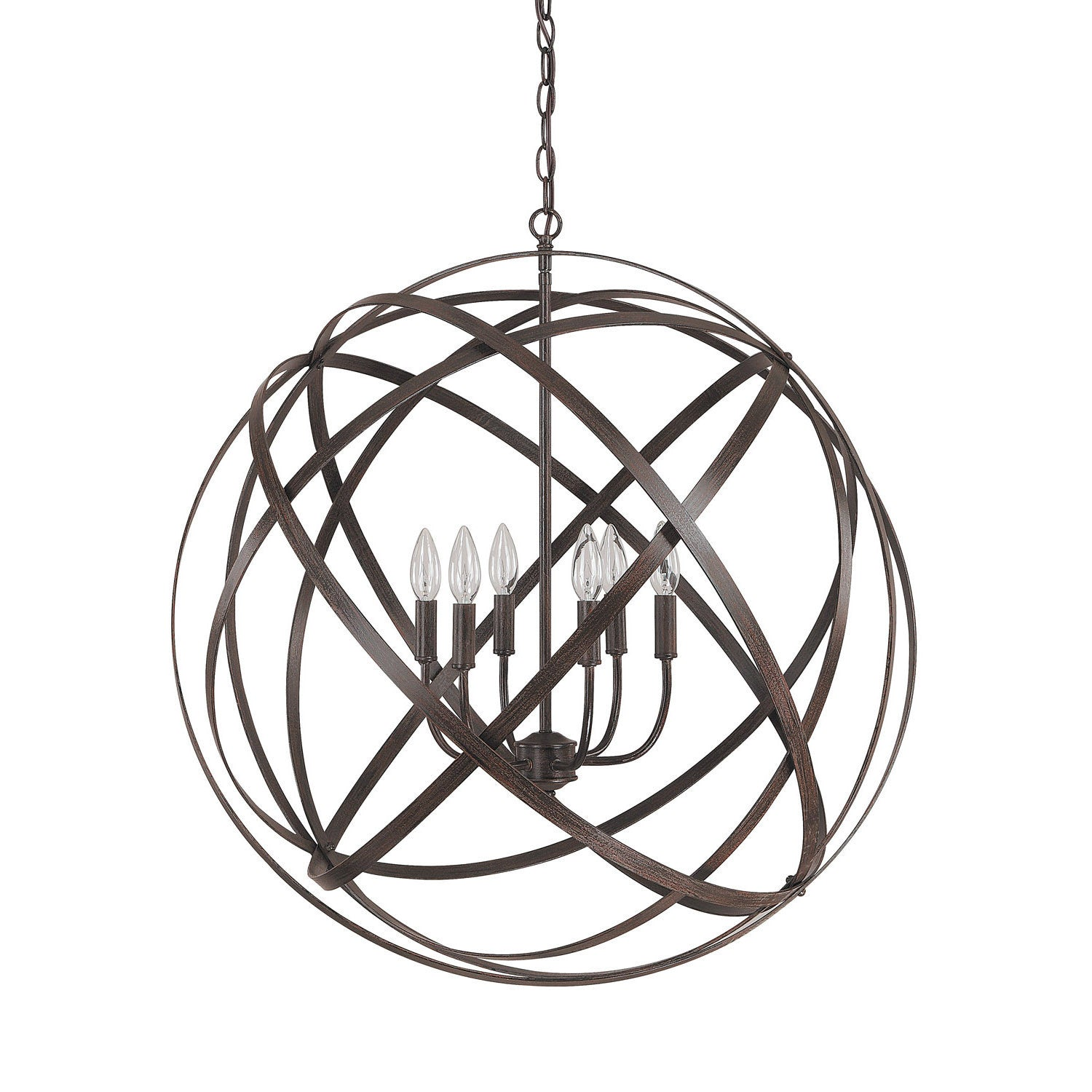 Axis 6 Light Orb Chandelier in Russet Bronze by Capital Lighting 4233RS
