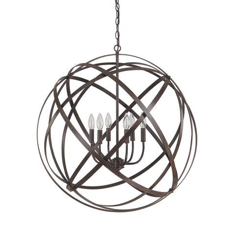Axis 6 Light Orb Chandelier in Russet Bronze by Capital Lighting 4236RS