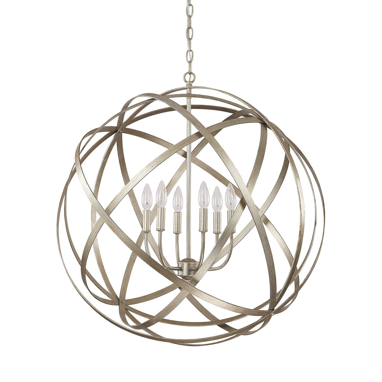 Axis 6 light orb chandelier in Winter Gold 4236WG