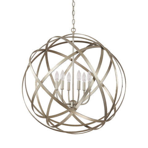 Axis 6 Light Orb Chandelier in Brushed Nickel by Capital Lighting 4236WG