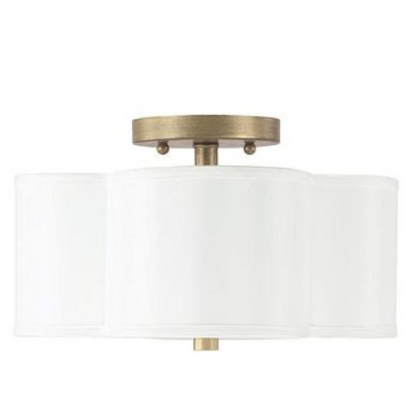 Capital Lighting 4 Light Large Quinn Ceiling Mount Light with White Scalloped shade 4453BG-561