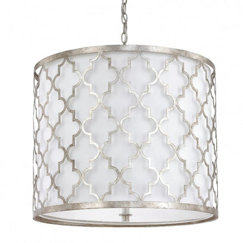 Ellis Drum 5 Light Pendant in Antique Silver by Capital Lighting 4543AS-578