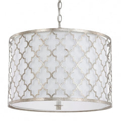 Capital Lighting 3 Light Ellis Drum Pendant in Antique Silver 4545AS-582