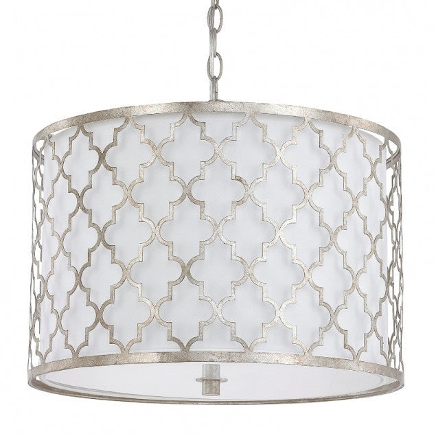 Ellis Drum 3 Light Pendant in Antique Silver by Capital Lighting 4545AS-582