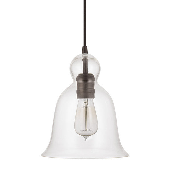 Bell Glass Pendant in Brushed Brass with Clear Glass Shade by Capital Lighting 4642BB-137