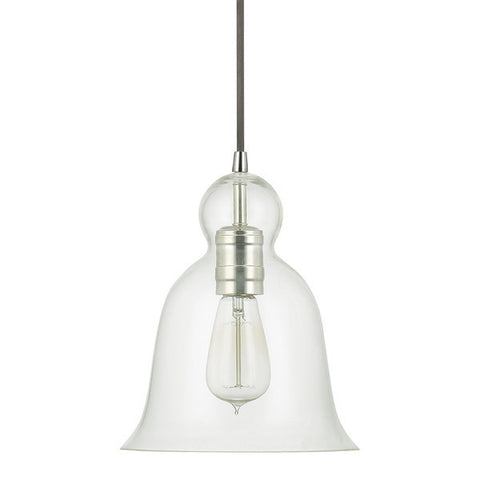 Bell Glass Pendant in Polished Nickel with Clear Glass Shade by Capital Lightig 4642PN-137