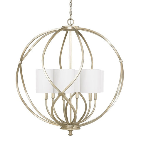 6 Light Bailey Orb Pendant in Winter GOld with White Fabric Shades by Capital Lighting 4720WG-565