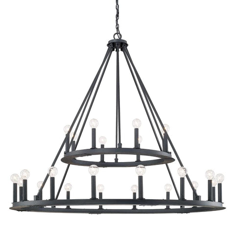 Capital Lighting 24 Light Two-Tierd Circle Pearson Chandelier in Matte Black Iron 4910BI