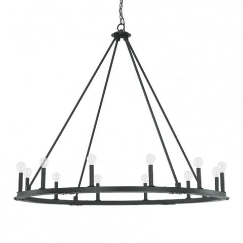Capital Lighting Large 12 Light Pearson Circle Chandelier in Matte Black Iron 4912BI-000