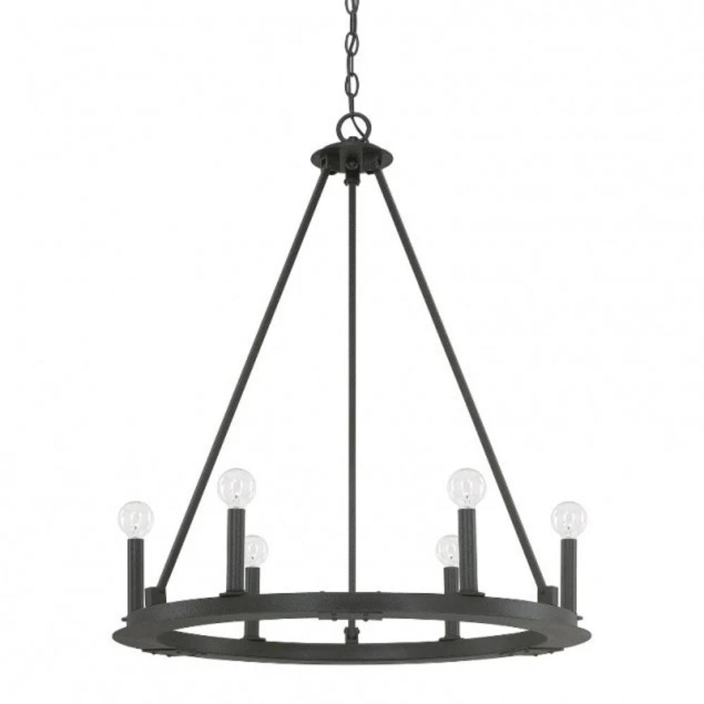 Capital Lighting 6 Light Pearson Circle Chandelier in Matte Black Iron 4916BI-000