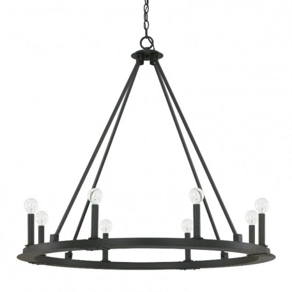 8 Light Pearson Chandelier in Black Iron by Capital Lighting 4918BI-000