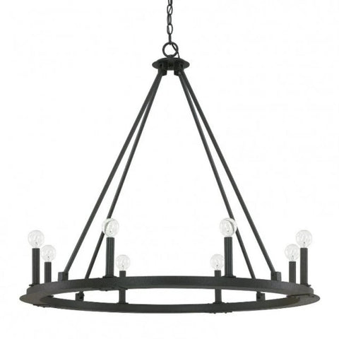 Capital Lighting 8 Light Pearson Circular Chandelier in Matte Black Iron 4918BI-000