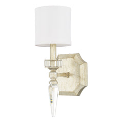 Capital Lighting Olivia 1 Light Wall Sconce in Winter Gold with Faceted Glass Stem and with Cylindrical White Shade Shade 615011WG-671