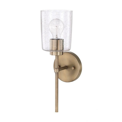 Greyson 1 Light Sconce in Aged Brass with Clear Seeded Glass Shade by Capital Lighting 628511AD-449