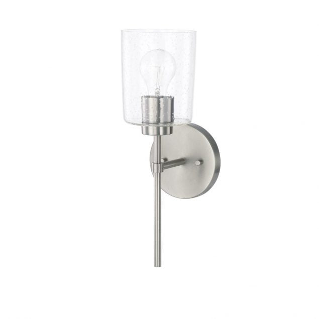 Greyson 1 Light Sconce in Brushed Nickel with Clear Seeded Glass by Capital Lighting 628511BN-449
