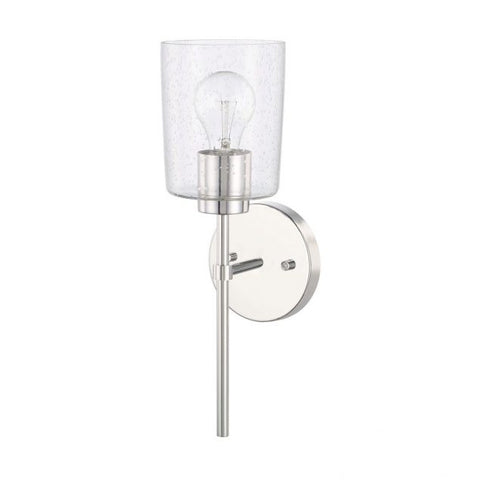 Greyson 1 Light Sconce in Chrome with Seeded Glass Shade by Capital Lighting 628511CH-449