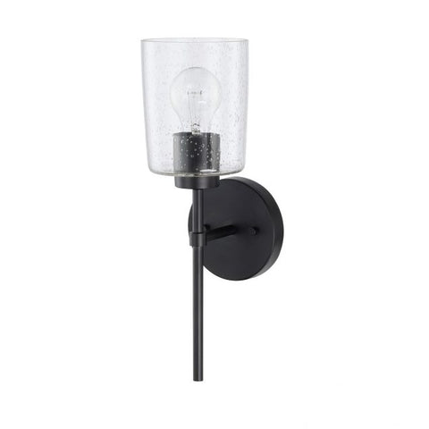 Greyson 1 Light Sconce in Matte Black with Seeded Glass Shade by Capital Lighting 628511MB-449