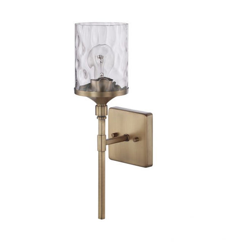 Colton 1 Light Sconce in Aged Brass with Clear Water Glass Shade by Capital Lighting 628811AD-451