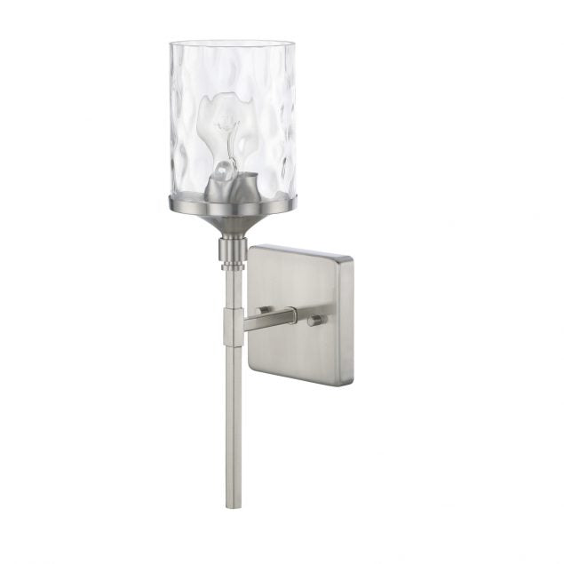Colton 1 Light Sconce in Brushed Nickel with Clear Glass Water Shade by Capital Lighting 628811BN-451