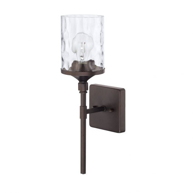 Colton 1 Light Sconce in Bronze with Clear Glass Water Shade by Capital Lighting 628811BZ-451