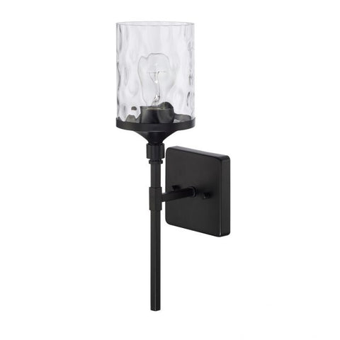 Colton 1 Light Sconce in Matte Black with Clear Water Glass Shade by Capital Lighting 628811MB-451