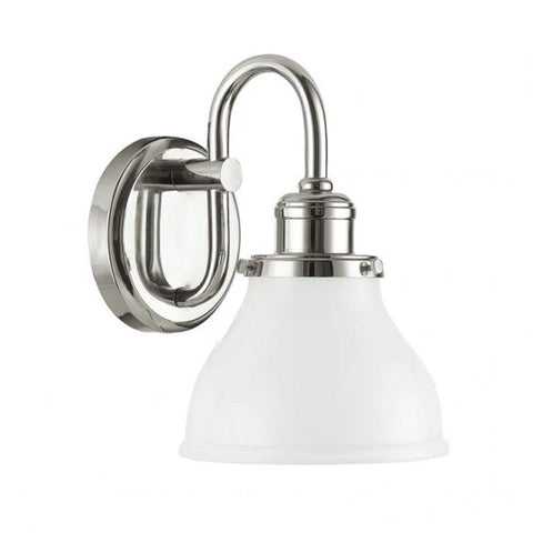 Baxter Bath Light in Polished Nickel with gooseneck and white glass shade by Capital Lighting 8301PN-128 Wall Sconce
