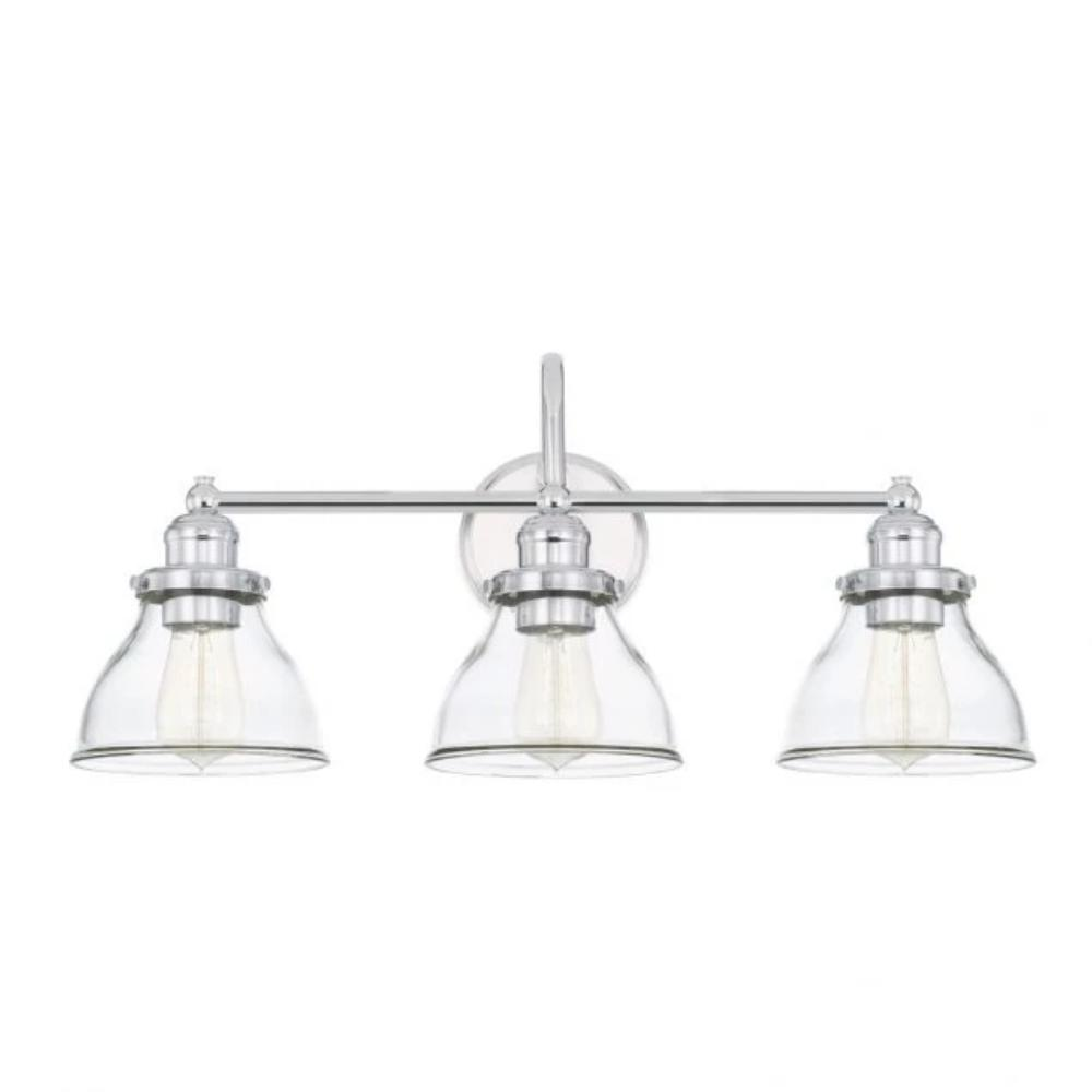 Baxter 3-Light Vanity, Chrome, Clear Glass