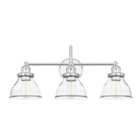 Baxter 3 Light Vanity in Chrome with Clear Glass Shades by Capital Lighting 8303CH-461