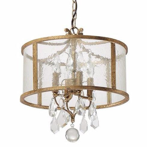 Capital Lighting Blakely Glass Drum Pendant with Crystals in Antique Gold 9484AG-CR