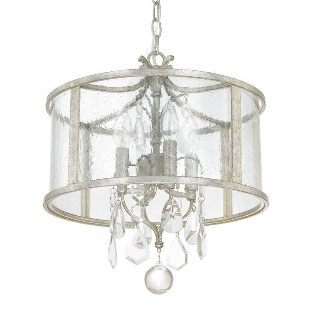 Capital Lighting Blakely Lantern Ceiling Mount with Crystals in Antique Silver 9481AS-CR