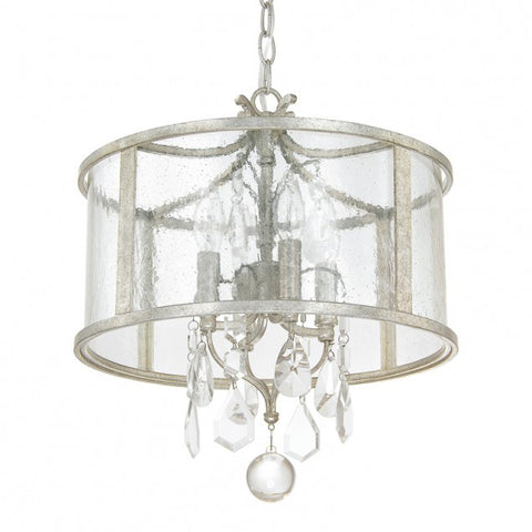 Capital Lighting Blakely Glass Drum Pendant with Crystals in Antique Silver 9484AS-CR