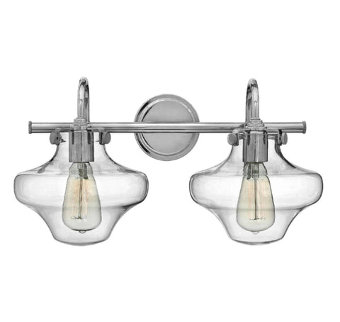 Congress 2 Light Hurricane Vanity in Chrome with Clear Glass Shades by Hinkley Lighting 50021CM