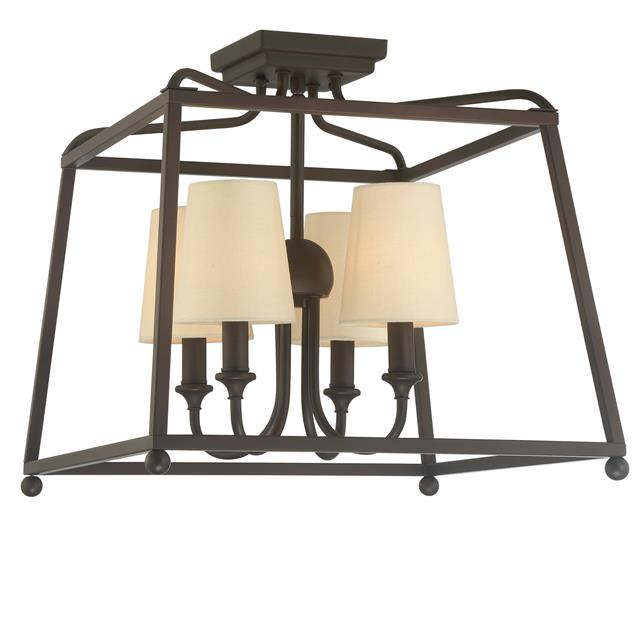 Sylvan 4 Light Ceiling Mount in Dark Bronze with Shades by Crystorama 2243-DB