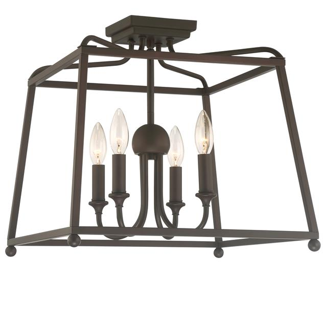 Sylvan 4 Light Ceiling Mount in Dark Bronze without Shades by Crystorama 2243-DB_NOSHADE
