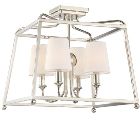 Sylvan 4 Light Ceiling Mount in Polished Nickel  with Shades by Crystorama 2243-PN