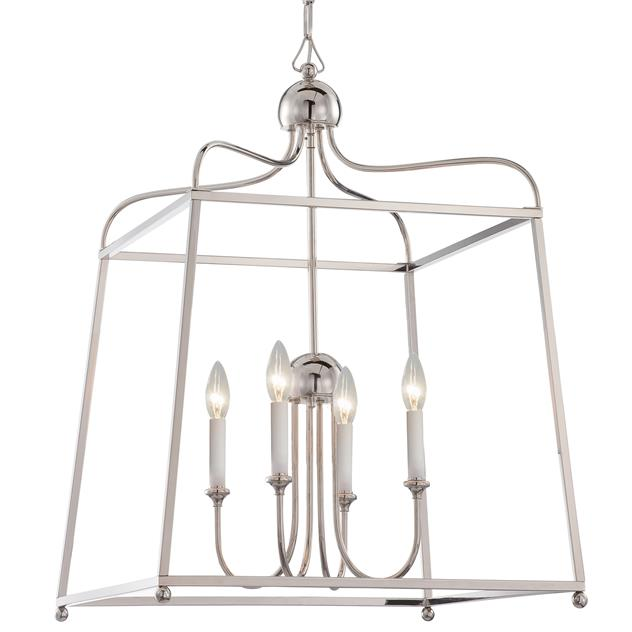 Sylvan 4 Light Chandelier in Polished Nickel without Shades by Crystorama 2244-PN_NOSHADE
