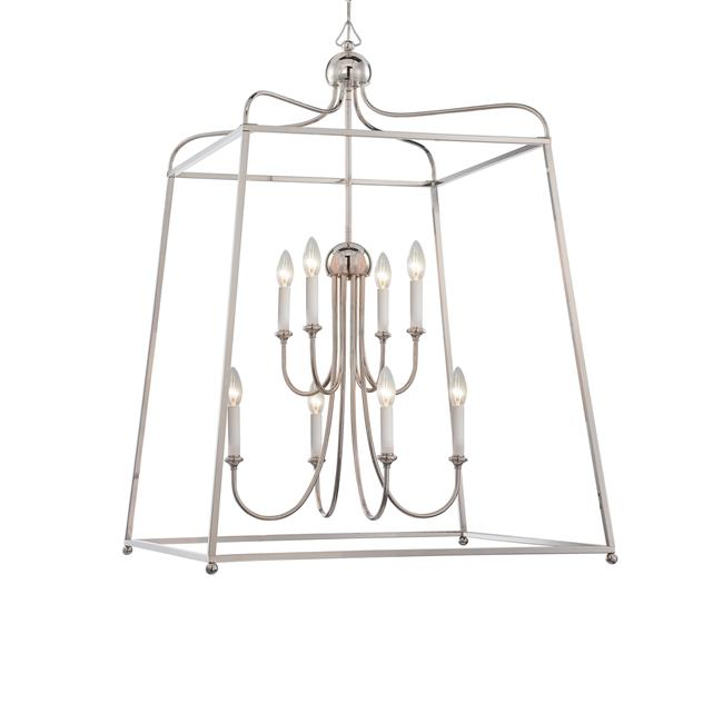 Sylvan 8 Light Chandelier in Polished Nickel without Shades by Crystorama 2248-PN_NOSHADE