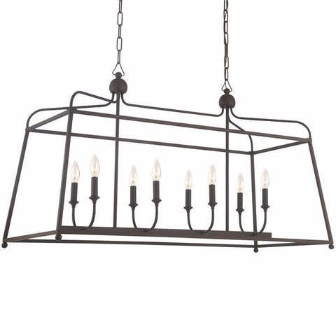 Sylvan Linear Chandelier without shades by Crystorama in Dark Bronze 2249DB_NOSHADE