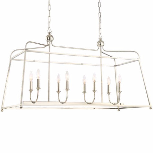 Sylvan Linear Chandelier by Crystorama without shades in Polished Nickel 2249PN_NOSHADE