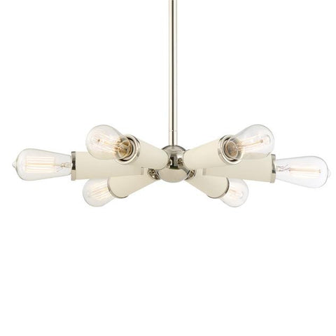 Small 6 light Zodiac Chandelier in Polished Nickel and Matte White by Crystorama 3807-PN