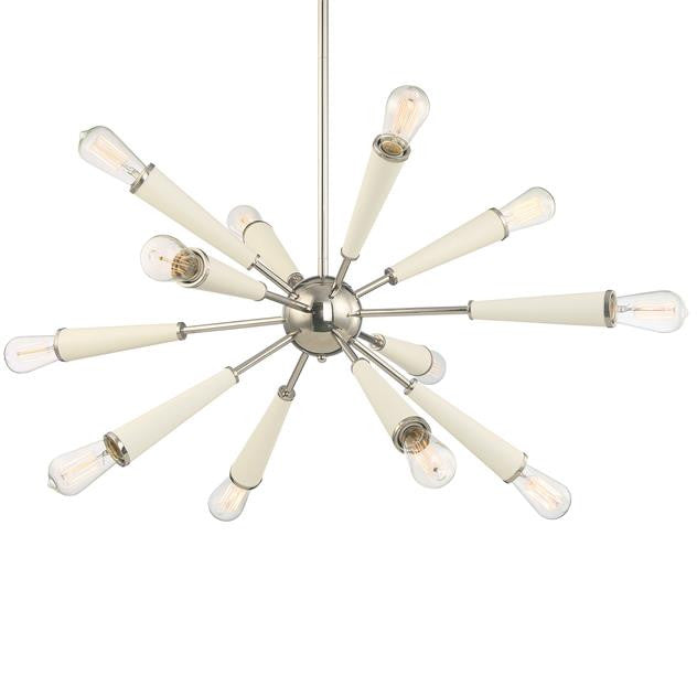 Sputnik 12 light Zodiac Chandelier in Polished Nickel and Matte White by Crystorama 3812-PN