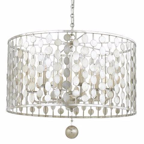 6 Light Layla Chandelier in Antique Silver by Crystorama 546-SA - Layla Chandelier In Antique Silver By Crystorama Lighting