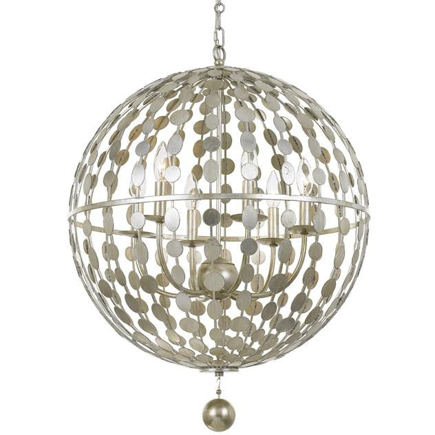 6 Light Layla Orb Chandelier in Antique Silver by Crystorama 547-SA
