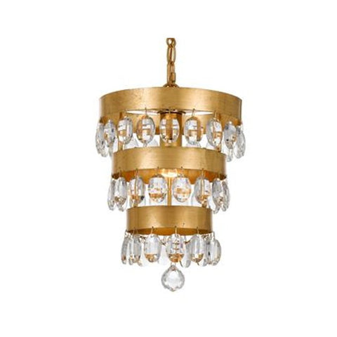 Crystorama 1 Light Mini Perla Chandelier in Antique Gold 6103-GA