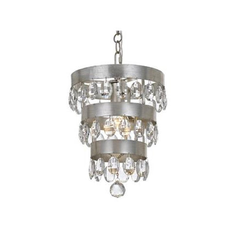 Crystorama 1 Light Mini Perla Chandelier in Antique Silver 6103-SA